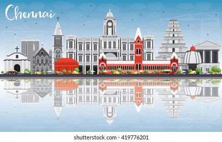 Chennai Skyline with Gray Landmarks, Blue Sky and Reflections. Vector Illustration. Business Travel and Tourism Concept with Historic Buildings. Image for Presentation Banner Placard and Web Site.