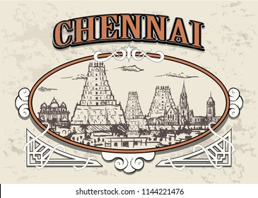 Chennai skyline, India, in a decorative vintage frame, retro hand drawn temples of Chennai city.