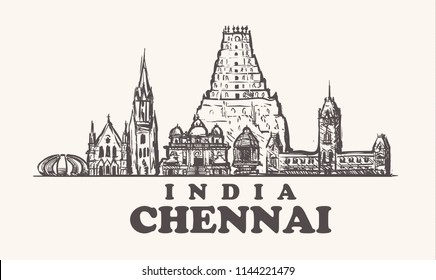 Chennai skyline, India vintage vector illustration, hand drawn temples of Chennai city, on white background.