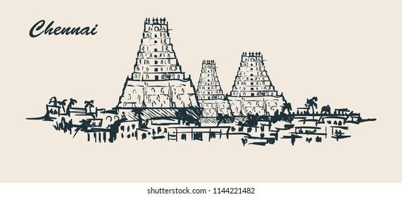 Chennai skyline,hand-drawn vector illustration