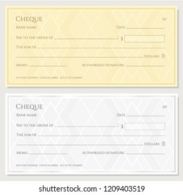 Cheque, Check, Chequebook template. Guilloche pattern with abstract geometric watermark. Golden, silver background for banknote, money design, currency, bank note, Voucher, Gift certificate, Money