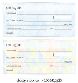 Cheque (Check template), Chequebook template. Blank bank cheque with guilloche pattern with business abstract watermark. Background for banknote design, Voucher, Gift certificate, Coupon, ticket