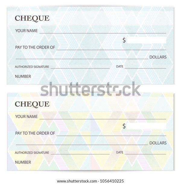 Cheque Check Template Chequebook Template Blank Stock Vector