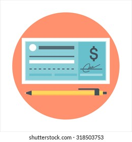 Cheque icon theme, flat style, colorful, vector icon set for info graphics, websites, mobile and print media.