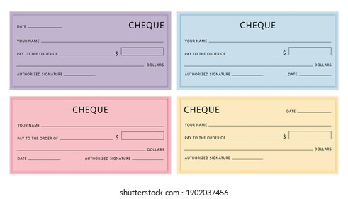 Cheque template. Blank checkbook pages mockups with empty fields. Bank check designs with borders. Colorful fake voucher cheques vector set. Illustration banknote cheque bill blank