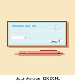 Cheque vector illustration. Cheque icon in flat style. Cheque book on colored background. Bank check with pen. Concept illustration pay, payment, buy.