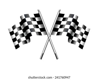 Chequered Flags Motor Racing - Two black and white crossed Racing Checked Flags
