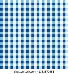 Chequered geometric pattern. Blue and white Gingham wallpaper. Simple and modern shape design. Abstract art. Decorative print. Square texture background for plaid, tablecloths, paper, textile, fabric.