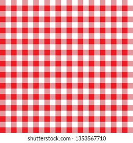 Chequered geometric pattern. Red and white Gingham wallpaper. Simple and modern shape design. Abstract art. Decorative print. Square texture background for plaid, tablecloths, paper, textile, fabric.