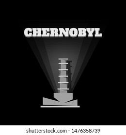 Chernobyl nuclear atom electric station. Chernobyl reactor in gray colors on a black background. Vector stock illustration.