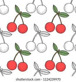 Cherries. Black and white illustration for coloring book. Berries, healthy dessert and food.