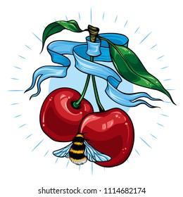Cherries and bumblebee tattoo. Vector illustration