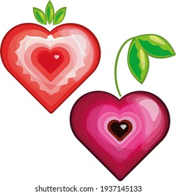 cherries colorful healthy   heart  natural nature  organic  pink   strawberries   symbol   tasty strawberry