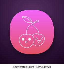 Cherries cute kawaii app character. Happy and astonished berries with smiling faces. Laughing and frowned food. Funny emoji, emoticon, smile. Vector isolated illustration
