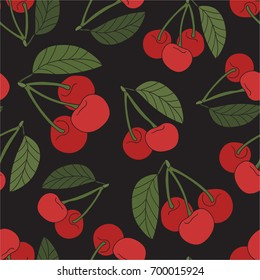 Cherries, hand drawn backdrop. Colorful wallpaper vector. Seamless pattern with berries. Decorative illustration, good for printing. Overlapping background design