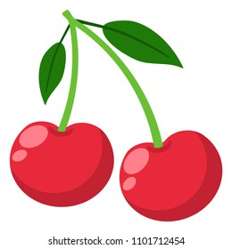 Cherries Illustration - Pair of cherries with stems and leaves isolated on white background