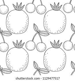Cherries and pomegranates. Black and white illustration for coloring book. Berries and fruits, healthy dessert, food.