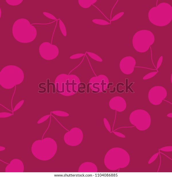 Cherries, seamless pattern, red and pink color, vector illustration