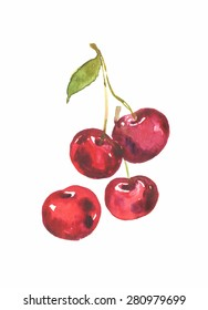 cherries watercolor