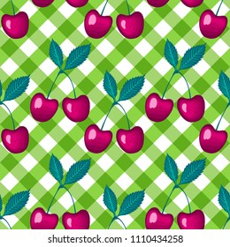 Cherry berry on green a checkered vichy background. Vector Seamless pattern.