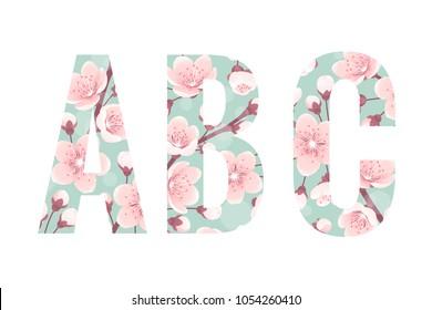 Cherry blossom alphabet set. Retro spring flowers, bokeh. Vector letters A, B, C
