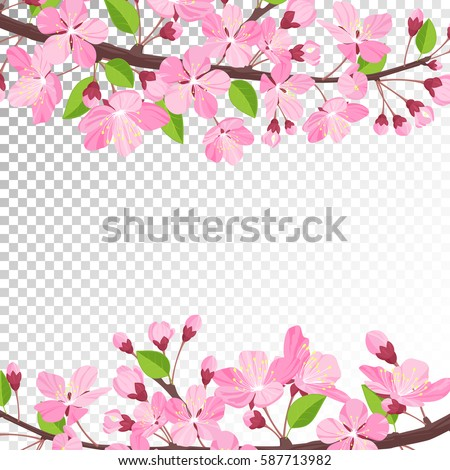 Cherry Blossom Background Pink Spring Flowers Stock Vektorgrafik