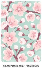 Cherry blossom background, spring flowers. Retro vector illustration. Design for invitation, banner, card, poster, flyer