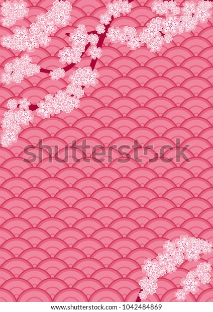 Cherry blossom branch on a japanese oriental pink background