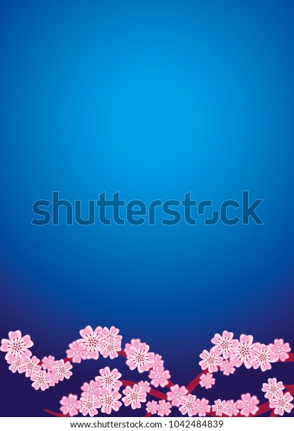 Cherry blossom branch on navy blue background