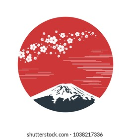 Cherry blossom branch with red sun in Asian style. Sakura blossom and sunrise. Japanese symbols mount Fuji. Vector illustration.