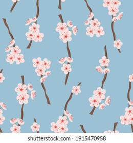 Cherry blossom branches seamless pattern.