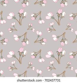Cherry blossom bud, seamless pattern