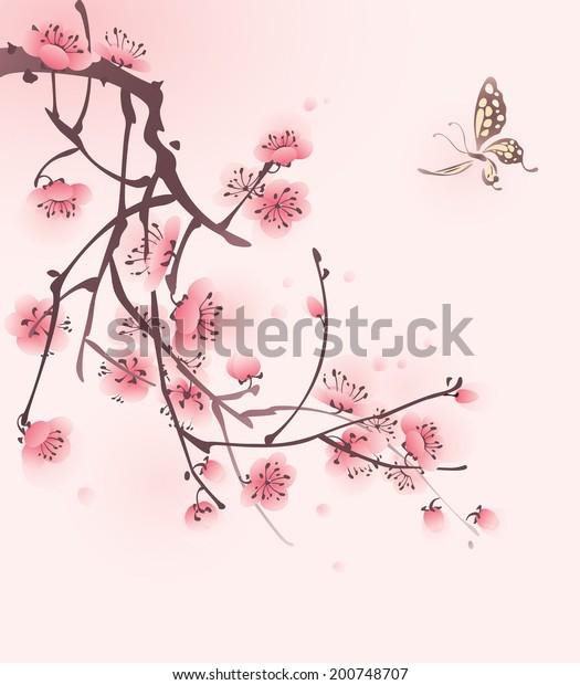 3e774e66d Cherry Blossom Butterfly Vectorized Brush Painting Stock Vector ...
