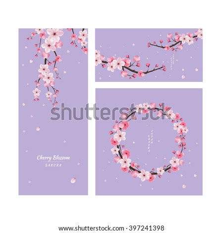 Cherry Blossom Collection Greeting Cards Seamless Texture Japanese Floral Pattern