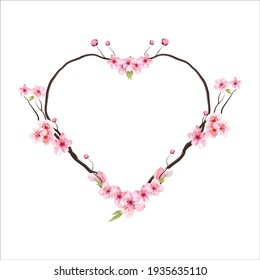 cherry blossom  Floral greeting card and invitation template for wedding or birthday anniversary, Vector heart shape of text box label and frame, Sakura flowers wreath ivy style with branch