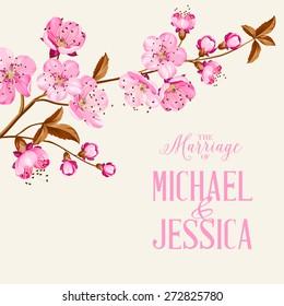 Cherry blossom. Flower invitation. Vector illustration.