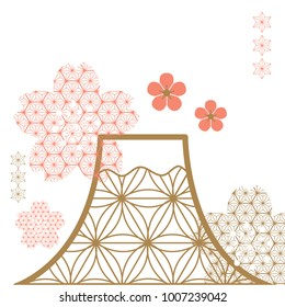 Cherry blossom and Fuji mountain with   flower elements background. Japanese pattern vector.