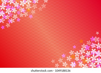 Cherry blossom and golden japanese traditional pattern background.