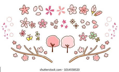 Cherry Blossom icon collection. By hand-painted style