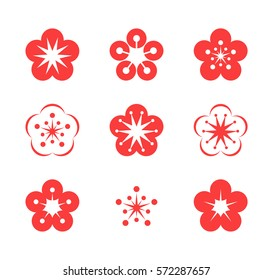 Cherry blossom. Icon set. Pink flowers on white background. Vector illustration