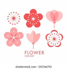 Cherry blossom. Icon set. Sakura