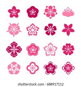 Cherry blossom icon set. Sakura flowers collection.