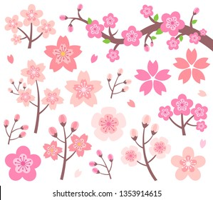 Cherry Blossom Illustration Vector Set. Sakura blossoms, branches, flower petals. Design element collection in flat style.