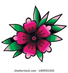 Cherry blossom. Oldschool traditional tattoo element. Vector clipart.Good for printing stickers and transfer tattoos. back to school theme.
