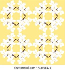 Cherry Blossom pattern on yellow