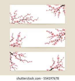 Cherry blossom realistic, sakura, japan, blur background. EPS 10 vector file included
