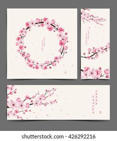 cherry blossom realistic vector, Illustration,  Layout, card,  template, sakura, japan