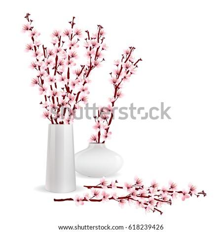 Cherry Blossom Sakura Branches Vases On Stock Vector Royalty Free