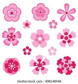 Cherry blossom. Sakura flowers. Vector elements.