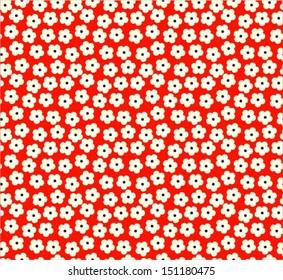 Cherry blossom / Sakura seamless pattern, red background, vector